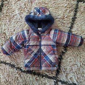 NWOT Patagonia Plaid Reversible Infant Coat ~ 3M